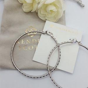 Kendra Scott large hoop silver earrings w bag